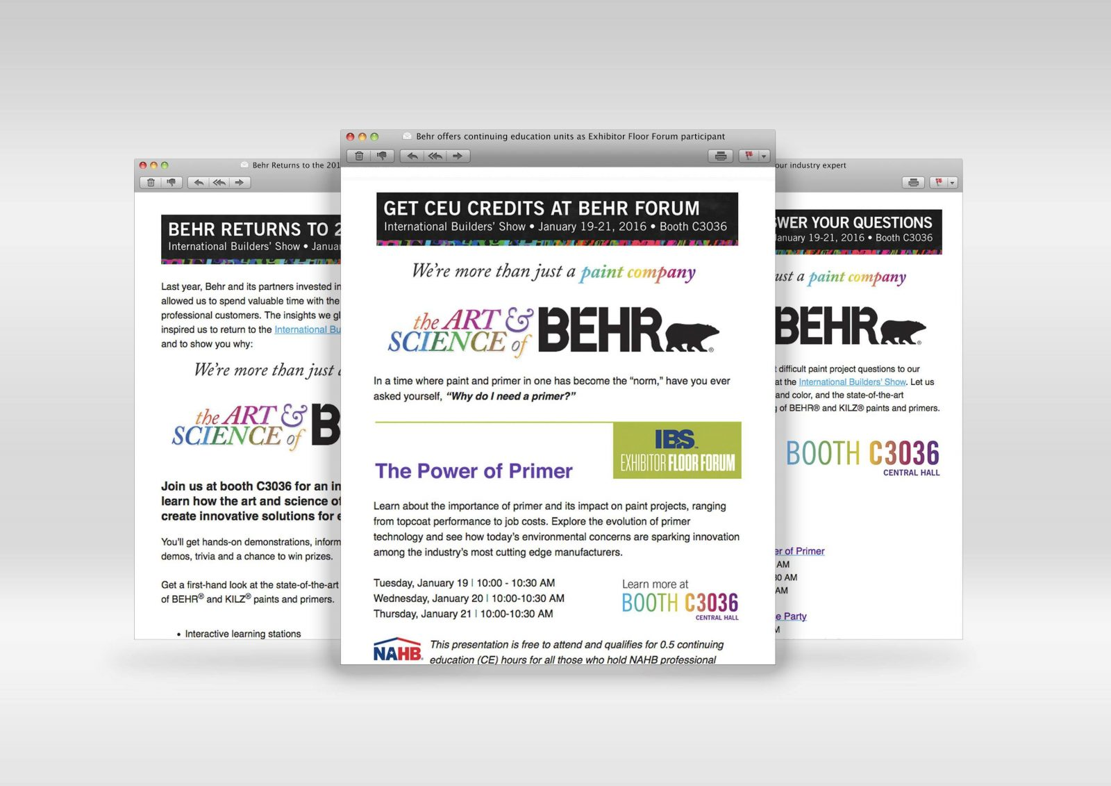 Email campaign, layout and design